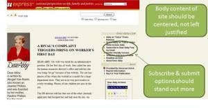 Screen shot: Dear Abby.com showing flaws