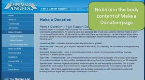 Screenshot of Donation page with no links