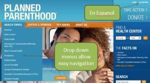 Screenshot showing drop down menu and Spanish option.