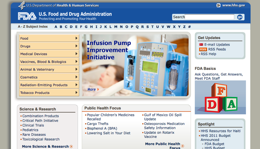 ... Food And Drug Administration Home Page