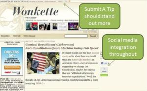 Screen shot: Wonkette home page with notations